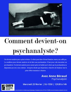 Affiche : Comment devient-on psychanalyste ?